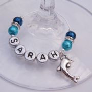 Dolphin Personalised Wine Glass Charm - Elegance Style
